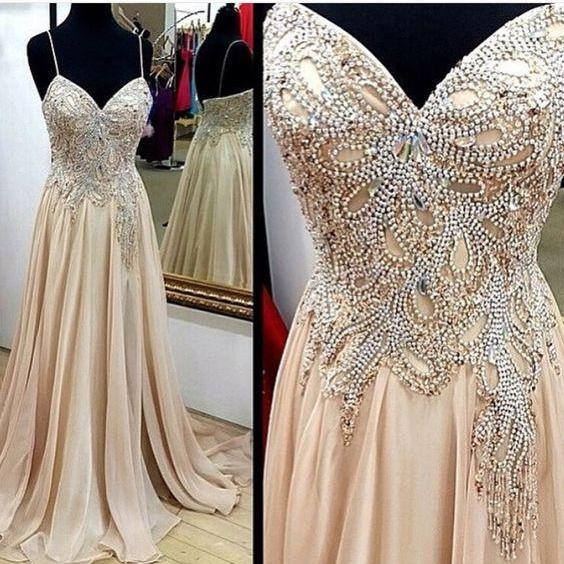 Spaghetti Straps Prom Dress,Long Prom Dresses,Crystal and Beaded Evening Dress,Backless Formal Dress