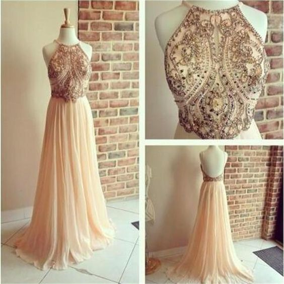 Sexy Halter Prom Dress,Long Prom Dresses,Crystal and Beaded Evening Dress,Backless Formal Dress